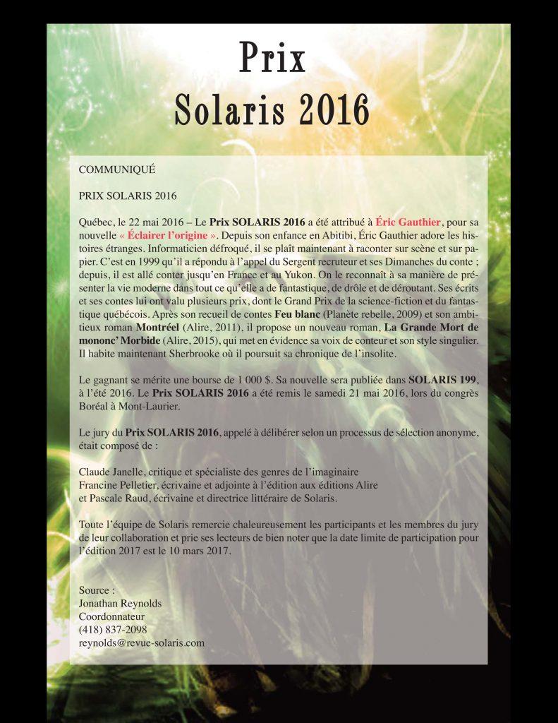 Prix Solaris 2016 - Communiqué
